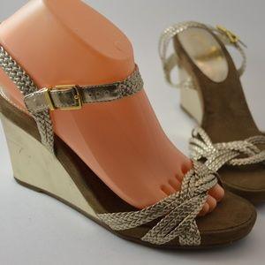 Chaps Perrie Gold Metallic Braided Wedge Heel